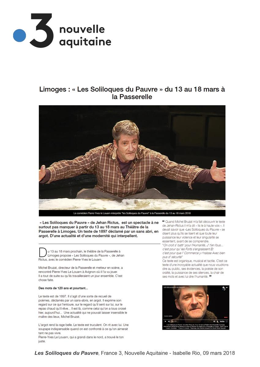 Les Soliloques du pauvre - France 3 Aquitaine
