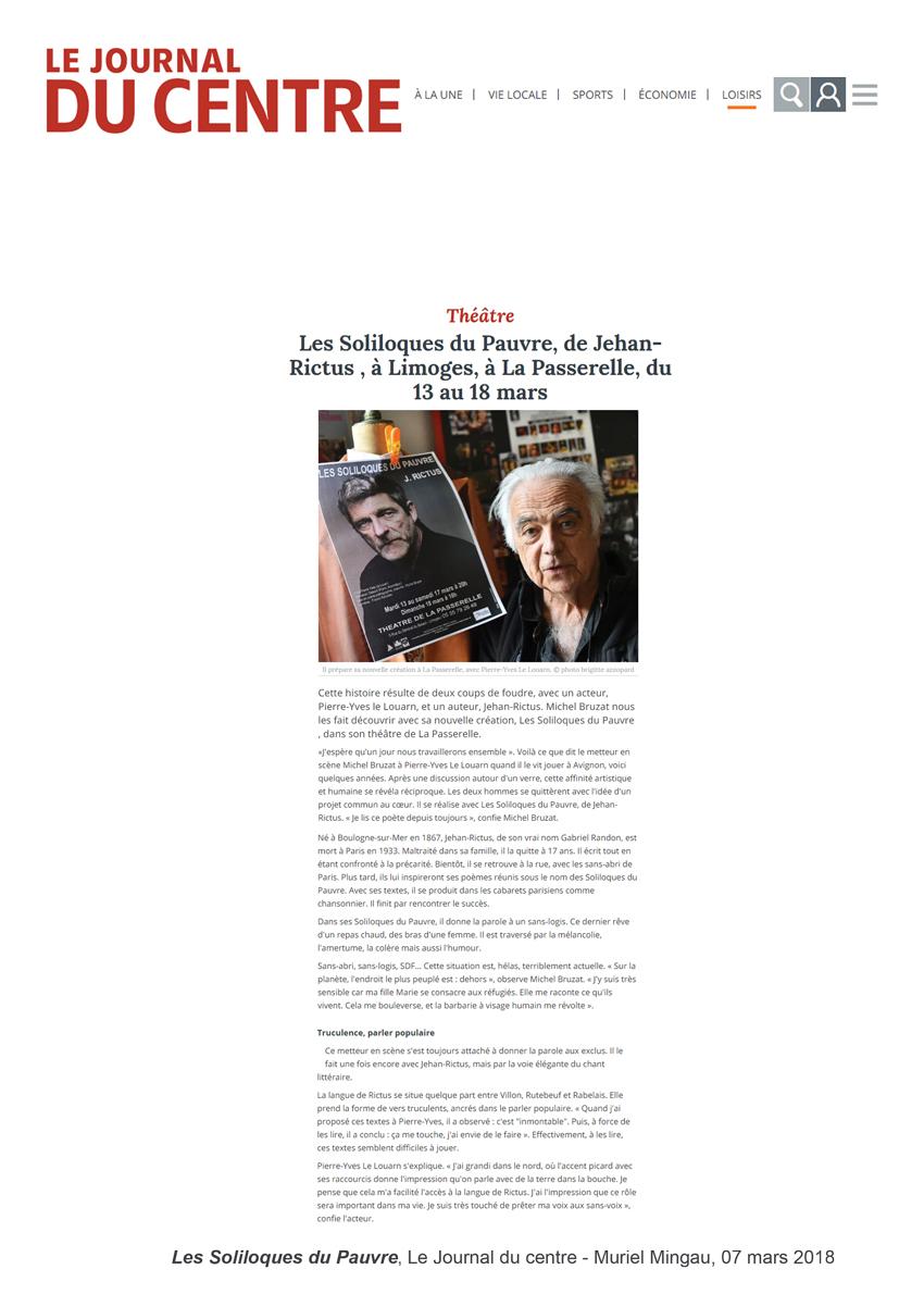 Les Soliloques du pauvre - Le Journal du centre